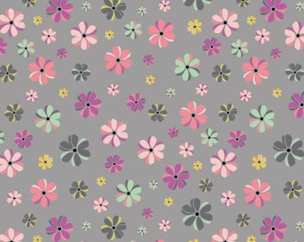 Flower, gray, 4142202, col 02, My Gray or the Highway, Camelot Fabrics, multiple quantity cut in one piece, 100% Cotton