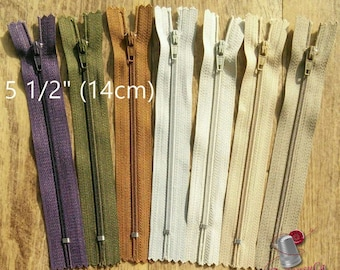 Kit 3 zippers, 14cm, curseur #3, 5 1/2 inchs, perfect for wallets, clothing, repair, Z14