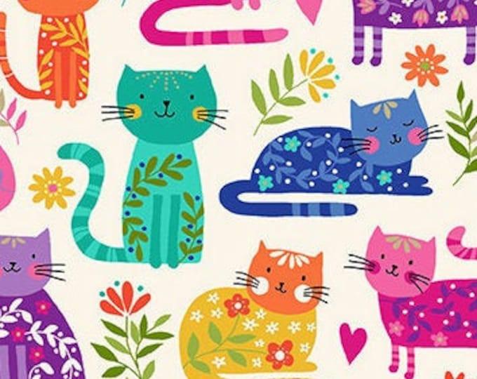 Featured listing image: Cats, white, rainbow, Katie's Cat, 2348 Q, Makower, cotton, cotton quilt, cotton designer