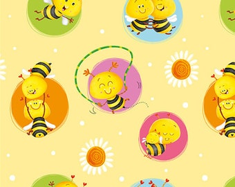 Bees in circle, yellow, BUSY BEES, 1411-44, Henry Glass & Co, 100% Cotton