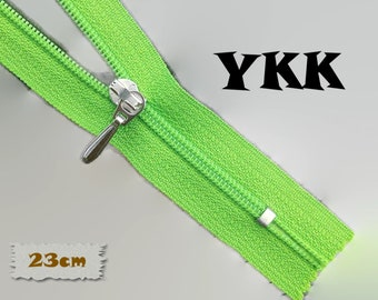 YKK, 23cm, Lime, Zippers, Silver Metal Slider, 3C, Decorative Clasp, Non-Detachable, Z100