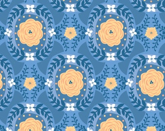 Flowers, blue, Do what you love, 2241505, col 01, Camelot Fabrics, cotton, cotton quilt, cotton designer