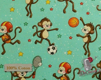 Monkey, aqua, Good Sports, Henry Glass & Co, multiple quantity cut in 1 piece, 100% Cotton