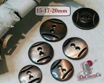 6 buttons Bronze, 15mm, 17mm,  20mm, bronze, métal, 2 holes, BM56
