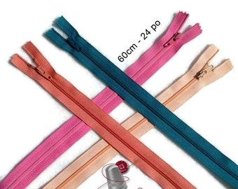 YKK, 60cm, (Reg 1.95), zipper, #3, (24 inchs), varied color, nylon, perfect for clothing, repair, creation, Z60
