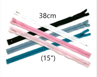 25%, 38cm, (Reg 1.60 - 4.80), zipper, #3, 15 inchs, varied color, varied size, nylon, perfect for wallets, clothing, repair, creation,