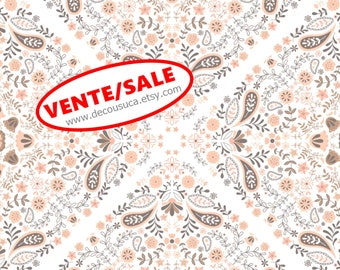 50%, Paisley, floral, white, 2144701-01, Camelot Fabrics, multiple quantity cut in one piece, (Reg 3.76-21.91)