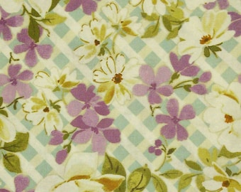 Flower, violet, olive green, Édition Fabric, multiple quantity cut in one piece, 100% Cotton
