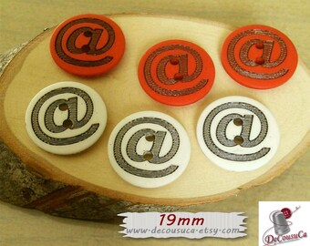 6 buttons, 19mm, (3/4 inch), @, red or white, fancy button, vintage, BF13, (Reg 4.80)