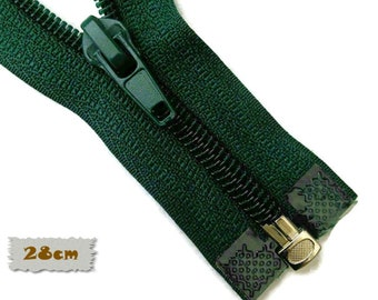 "SEPARABLE, 28cm, (11 ""), Forest green, Zipper, 7E Slider, Clothing, ZS01"