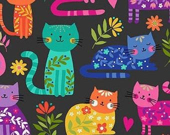 Cats, Black, rainbow, Katie's Cat, 2348 S, Makower, cotton, cotton quilt, cotton designer