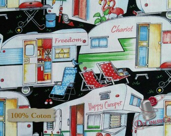 Camping, Happy Camper, by City Art Studio, 1330, Henry Glass & Co, multiple quantity cut in 1 piece, 100% Cotton