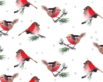 Birds, white, 26180203J, col 03, Camelot Fabrics, 100% Cotton, (Reg 2.99-17.99)