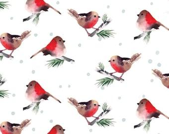 Birds, white, 26180203J, col 03, Camelot Fabrics, 100% Cotton, (Reg 5.29 -22.95)