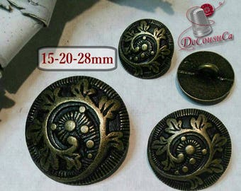 6 Buttons Bronzee, Vintage, 15mm, 20mm, 28 mm, metal, rod, décoratif button, sound button, coat button, vintage, BM04
