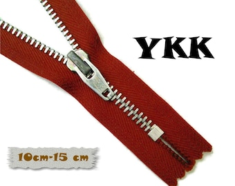 YKK, 10cm, 15cm, Red Wine, Zipper, Cursor 5, 4-6 Inch, Metal Slider, Zipper, Non-Detachable, vintage, 1980, Z16, (Reg 2.09-2.49)