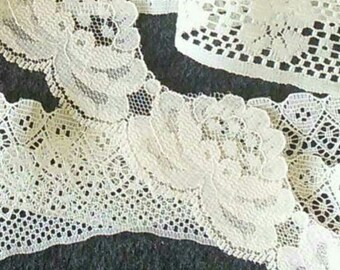 5 verges, Lace, Ivory, 1 1/2 po (4cm), polyester, vintage, DT22