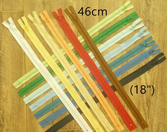 25%, 46 cm, (Reg 1.60 - 4.80), zipper YKK, #3, (18 inchs), varied color, nylon, perfect for wallets, clothing, repair, creation, Z46