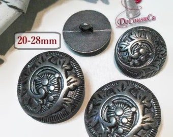 28mm, 20mm, 2 Buttons antique silver Vintage, metal, rod, decorative button, sound button, coat button, BM06, (Reg 4.80-9.00)