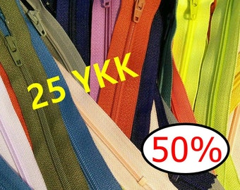 25 zippers YKK, SURPRISE, varied color, 15 cm - 65 cm, no 3, nylon, perfect for wallet, clothing, repair, ZK9