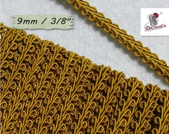 "4 yards,trim, gold antique, Cracked Ribbon, Ribbon Tapestry, Vintage, 9mm, (3/8 ""), RB13"