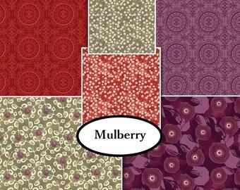 Bundle, 6 prints, Mulberry Bloom, Sara Berrenson, Camelot Fabrics, 100% Cotton, quilt cotton