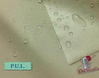 "P.U.L. waterproof, WHITE, laminated polyester, multiple quantity cut in one piece,  150cm, (60"") wide"