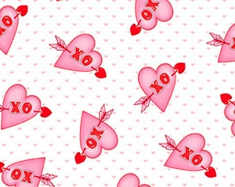 Heart, XO, Love Struck, 1368-8, by Shelly Comiskey, Simply Shelly Designs, Henry Glass & Co, 100% Cotton