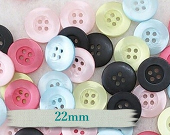 "25 Buttons, 22 mm, (7/8""), 4 holes, resin, choosing fuschia, bleu, pink, lime and black, BA07"