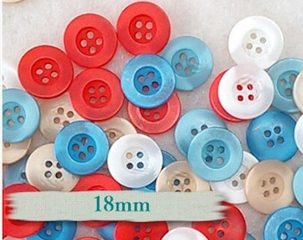25 Buttons, 18mm, 4 holes, mixte of beige, white, red, aqua, blue, BA06,  (Valeur de 7.50)