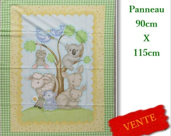 Panel Koala, 90cm X 115cm, cotton, cloth, sheep, mice, kangaroo, hedgehog, bird, tree, opossom