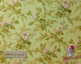 Flower, green, Antebellum, Sara Morgan, Washington Street Studio, 26758, multiple quantity cut in one piece, 100% Cotton