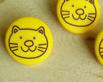2 Buttons, 15mm, Cat, Yellow, Casein, Lucite, Vintage, 1980s, Basic Button, Solid Button, GR04