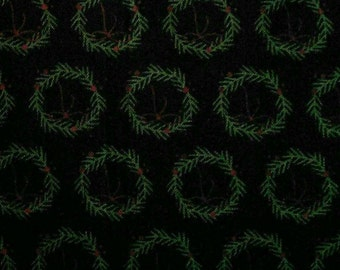 Wreath, forest green, black background, Winterberry, 8445, Riley Blake, fabric, cotton, quilt cotton
