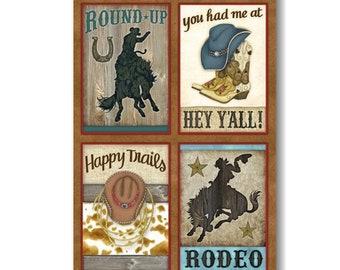 "Panel, Rodéo, 27"" X 44"", (70cm x 115cm), 6900P-33, Rodeo Roundup, Henry Glass100% Cotton"
