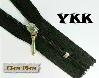 YKK, 13cm to 15cm, BLACK, Zippers, Silver Metal Slider, 3C, Decorative Clasp, Non-Detachable, Z100