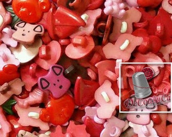 25 Fancy buttons, Pink, fuschia, red, dog, turtle, tulip, cherry, frog, bear, boat, heart, etc., BF60,