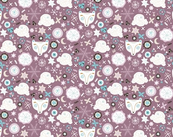 END OF BOLT, Bears, Snow Fall,  lilac, cotton