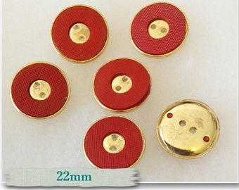 6 buttons, 22mm, Red and golden, golden center, gold antique, vintage, chic button, BM26, (Reg 4.80)