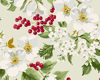 Fabric, Cotton, Flower, Cranberry, Winter Rose, 9420, Andover