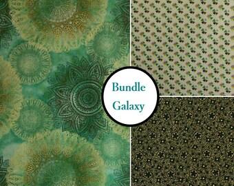 3 prints, Galaxy, aqua, brown, gray, 1 of each print, multiple quantity cut in one piece, 100% Cotton,