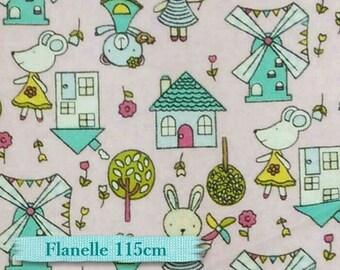"""50%, Flannel,  Fat quarter, 182X22"""", (45cm x 55cm), Rabbit, house, pink,"""