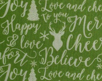 Writing, Sapin, Deer, Comfort and Joy, 6264, Riley Blake, fabric, cotton, quilt cotton