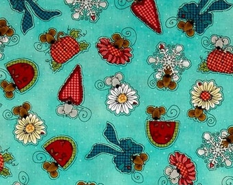 Mouse aqua, Doodle Days Calender, Henry Glass, #8661, multiple quantity cut in one piece, 100% Cotton