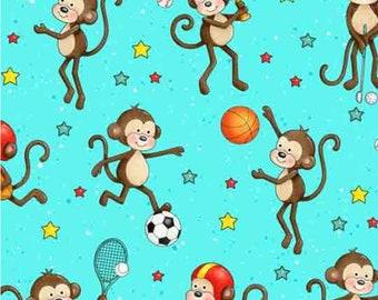 Monkey, aqua, Good Sports, Henry Glass & Co, multiple quantity cut in 1 piece, 100% Cotton