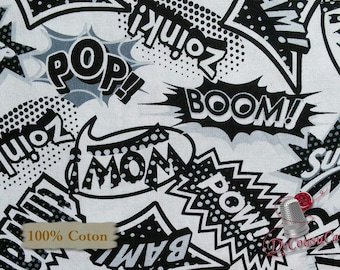 Wow, Black, White, Super Héroes, Studio E, 3875, multiple quantity cut in one piece, 100% Cotton