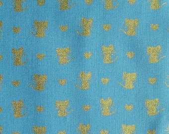 Mouse, blue, gold, Michael Miller, CM7620, 100% Cotton, (Reg 2.99-17.99)