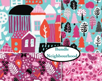 4 prints, Neighbourhood, Camelot Fabrics, 100% Cotton, (Reg 21.16 - 91.90)