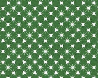 Christmas Adventure, Riley Blake Designs, Christmas fabric 100% cotton, snowflake, #10735 GREEN