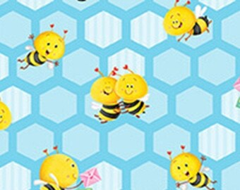 Small honeycomb, Bees, blue, BUSY BEES, 1413-11, Henry Glass & Co, 100% Cotton